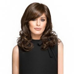 Middle Length Wavy Hair with Inclined Bangs Heat Resistant Synthetic Fiber Fashion Women Full Wig Dark Brown 16 inch