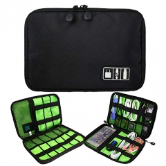 Electronic Cord Organizer Travel Cable Bag Water Resistant Double Layer Storage Black