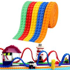 DIY Creative Silicone Building Block Tape f Lego Brick Reusable Self-Adhesive Strip Learning Toy Blue One Pack