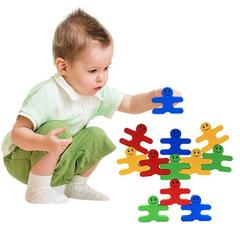 16pcs/set Baby Toys Educational Balance Villain Blocks Toy Cartoon Colorful Balancing Blocks Wooden Shown as Picture One Pack