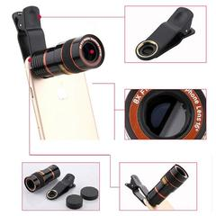 Phone Camera Lens Portable Universal 8x12 Zoom Manual Focus Camera Lens Clip-on Telephoto Lens Black one size