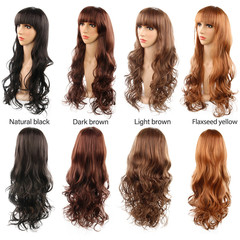 Fashion Women Long Big Curly Wave Hair Heat Resistant Synthetic Fiber Full Wig Dark Brown 22 inch / 57cm