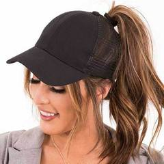 Womens Ponycaps Plain Ponytail Baseball Cap Hat Gilitter Black