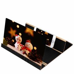 12inch Screen Magnifier Cell Phone 3D HD Movie Video Amplifier Wood Stand black one size