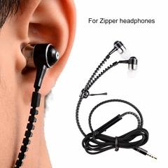Earbuds Headphone Universal Stereo Zipper Headset 3.5mm Earphone black