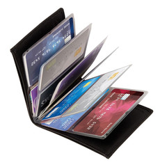 Unisex Slim Leather Wallet Card Case Credit Card Protector RFID Blocking Wallet black one size