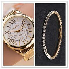 2-In-1 Trendy Female Watch With Studded Bracelet white one size