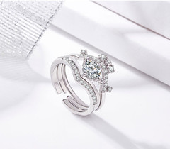 3 in 1 Style Bridal Wedding Engagement Anniversary Statement Eternity Ring Set silver one size