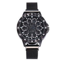 360 Degree Rotate Women Diamond Watches With Magnetic Buckle Flower Dial black one size