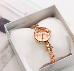 Women's Quartz Analog Rhinestones Shining Bling with Stars Dial Luxury Dress Wrist Watches rose gold one size