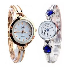 2 In 1 Women Fashion Wristwatch Silver And Gold gold + silver one size