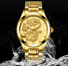 Golden Dragon Quartz Watch Men Luxury Watches gold one size
