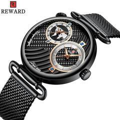 Dual Time Zone Japan Movement Quartz Men's Watch black one size