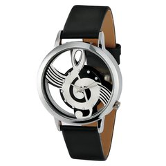 Music Notation Fashion Wrist Watch with Buckle Clasp black one size