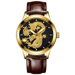 FNGEEN Golden Dragon Quartz Leather Watch Luxury Watches black one size
