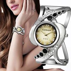 Cuff Bracelet Rectangular Dial Hollow Analog Quartz Watch black one size