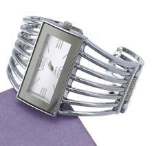Cuff Bracelet Rectangular Dial Hollow Analog Quartz Watch silver + white one size