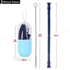 Foldable Silicone Straw Food-Grade Silicone Portable Travel Drinking Straws blue one size