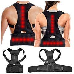 Adjustable Magnetic Therapy Posture Corrector Brace Shoulder Back Support Belt Black XL