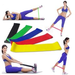 5 Exercise Bands Fitness Resistance Loop Straps Varying Resistance for Home Workouts show as picture universal size