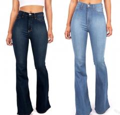 KiliFun Collection 8099 Women's Cross-border Jeans High Waist Stretch Ladies Denim Flare Pants light blue 2xl