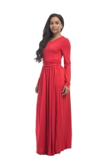 KiliFun Collection Large Size Irregular Pure Color Dress Long Skirt m red