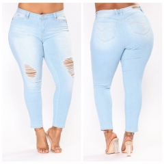 KiliFun Collection 501Large Size Women's New African Jeans Stretch Denim Hole Ladies Feet Pants light blue 2xl