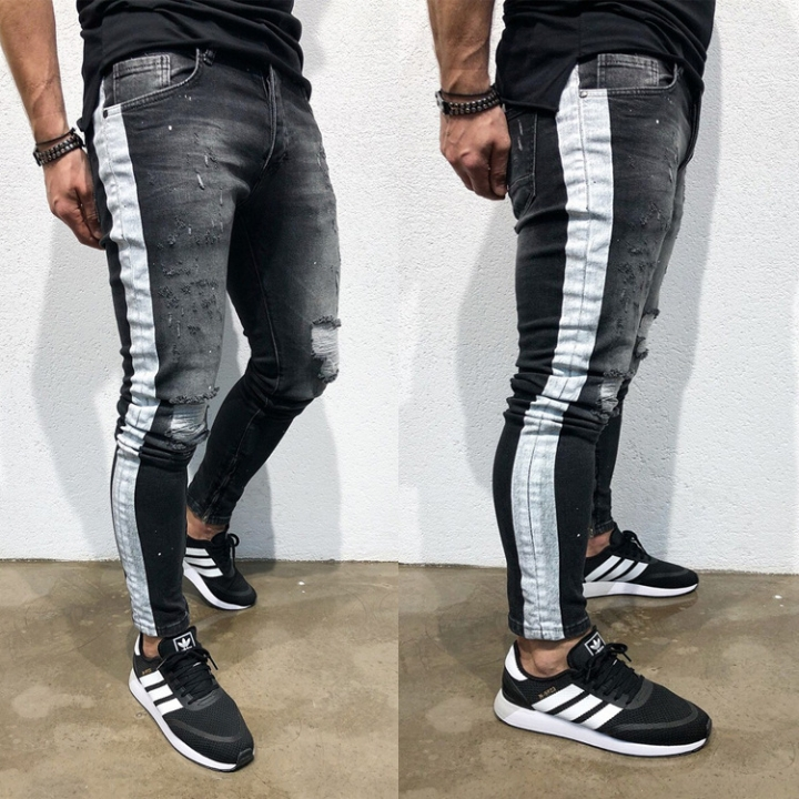 KiliFun Collection NK50 New Men's Hole Feet Jeans Side Print Jeans Stretch Denim Slim Fit Trouser black s