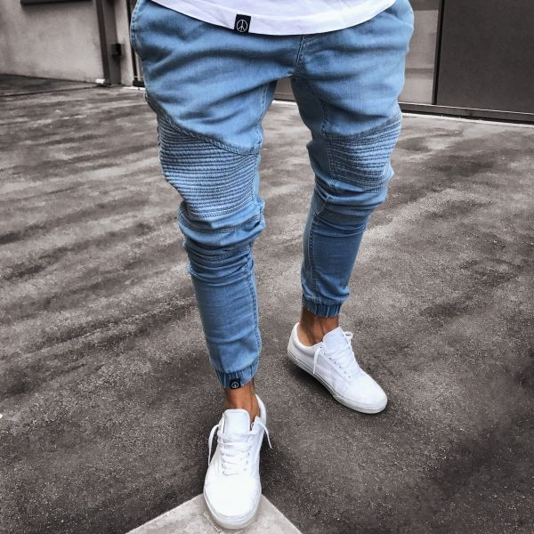 KiliFun Collection 1011 Jeans Hole Stretch Denim Zipper Men's Feet Skinny Pants Slim Fit Jean Pant light blue m