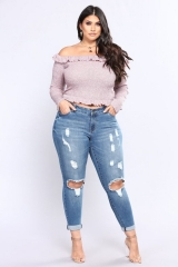 KiliFun Collection 511Large Size Women's New High Waist Jeans Stretch Denim Hole Lady Feet Pants light blue 2xl