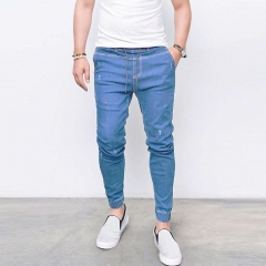 KiliFun Collection NK37 Jeans Men's Skinny Fashion Denim Feet Elastic Pants light blue s