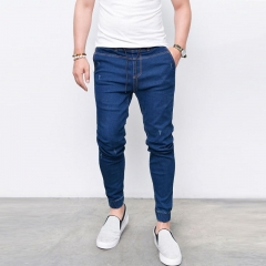 KiliFun Collection NK37 Jeans Men's Skinny Fashion Denim Feet Elastic Pants dark blue xl