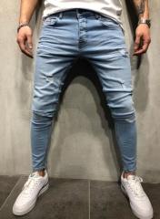 KiliFun Collection 11099 High Quality Men's Jeans Stretch Print Stretch Denim Pants Ripped Hole light blue s