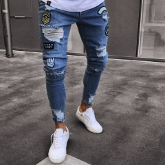 KiliFun Collection NK35 New Tide Badge Jeans Men's Trend Knee Hole Zipper Small Feet Denim Trousers dark blue s