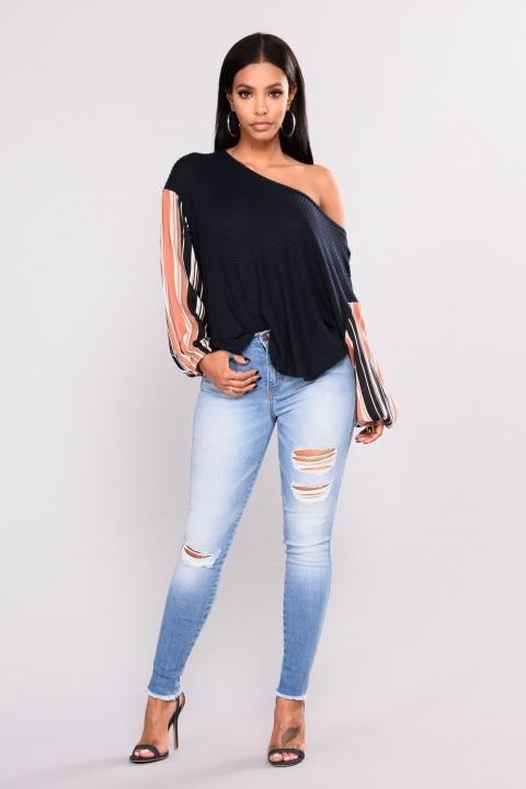 KiliFun Collection 8091Jeans With Hole High Waist Ladies Denim Feet Pants light blue xl