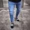KiliFun Collection NK40 Men's Feet Jeans Trousers Zipper Jeans Side Striped Stretch Denim Slim Pants Black Ribbon xl