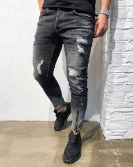 KiliFun Collection NK52 Men's Feet Jeans Foot Zipper Distressed Ripped Holes Slim Fit Skinny Trouser black s