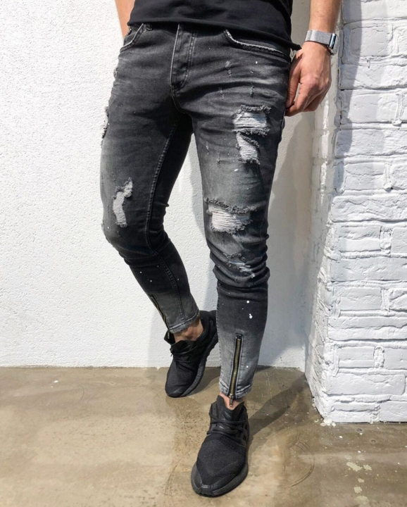 KiliFun Collection NK52 Men's Feet Jeans Foot Zipper Distressed Ripped Holes Slim Fit Skinny Trouser black s