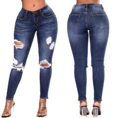 KiliFun Collection 8096Large Size Women's High Waist Jeans Stretch Denim Hole Ladies Feet Pants dark blue 2xl