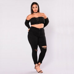 KiliFun Collection 515 Large Size Women's New African Jeans Stretch Denim Hole Ladies Feet Pants Black 2xl