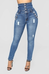 KiliFun Collection 8097Jeans With Hole High Waist Ladies Denim Feet Pants dark blue s