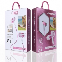 KiliFun Collection Z4 Earbuds/Earphone Stereo 3.5mm wired control with mic and button pink