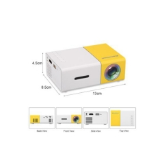 KiliFun Collection DH Brand YG300 High Quality HD LED Mini Portable Pocket Projector with Battery White+Yellow UK Regulatory