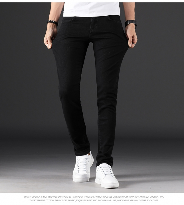 KiliFun Collection YTN-1022 High Quality Men's Feet Denim Trousers Versatile Stretch Slim Jeans black 28