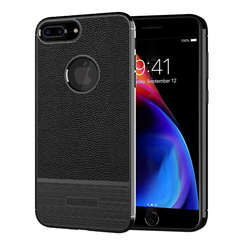 KiliFun Collection Rubber Lichi Leather TPU Gel For iPhone 8 plus Case Bumper Cover black iphone 8 plus