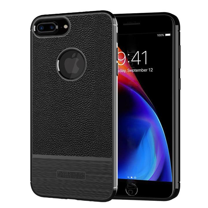 KiliFun Collection Rubber Lichi Leather TPU Gel For iPhone 8 plus Case Bumper Cover black iphone 8 plus