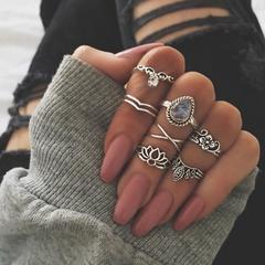 KiliFun Collection 7 Pcs/set Different Design Flower Shape Vintage Top Finger Midi Custom Rings Set Silver Multiple