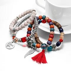 KiliFun Collection Crystal Cat Eye Stone Multi Layer Beads Tassel Vintage Multilayer Beaded Bracelet red multiple