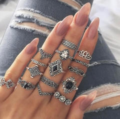 KiliFun Collection Bohemian Vintage Anemone Vew Style 15 Pieces/lot Ring Set Women silver multiple