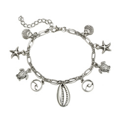KiliFun Collection Beach Jewelry Alloy Cheap Starfish Charm Anklet For Women,Boho Bracelets silver multiple